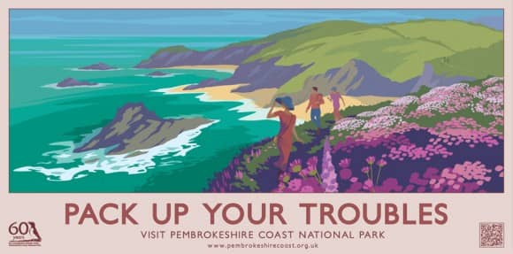 Pack Up Your Troubles Pembrokeshire Coast Poster