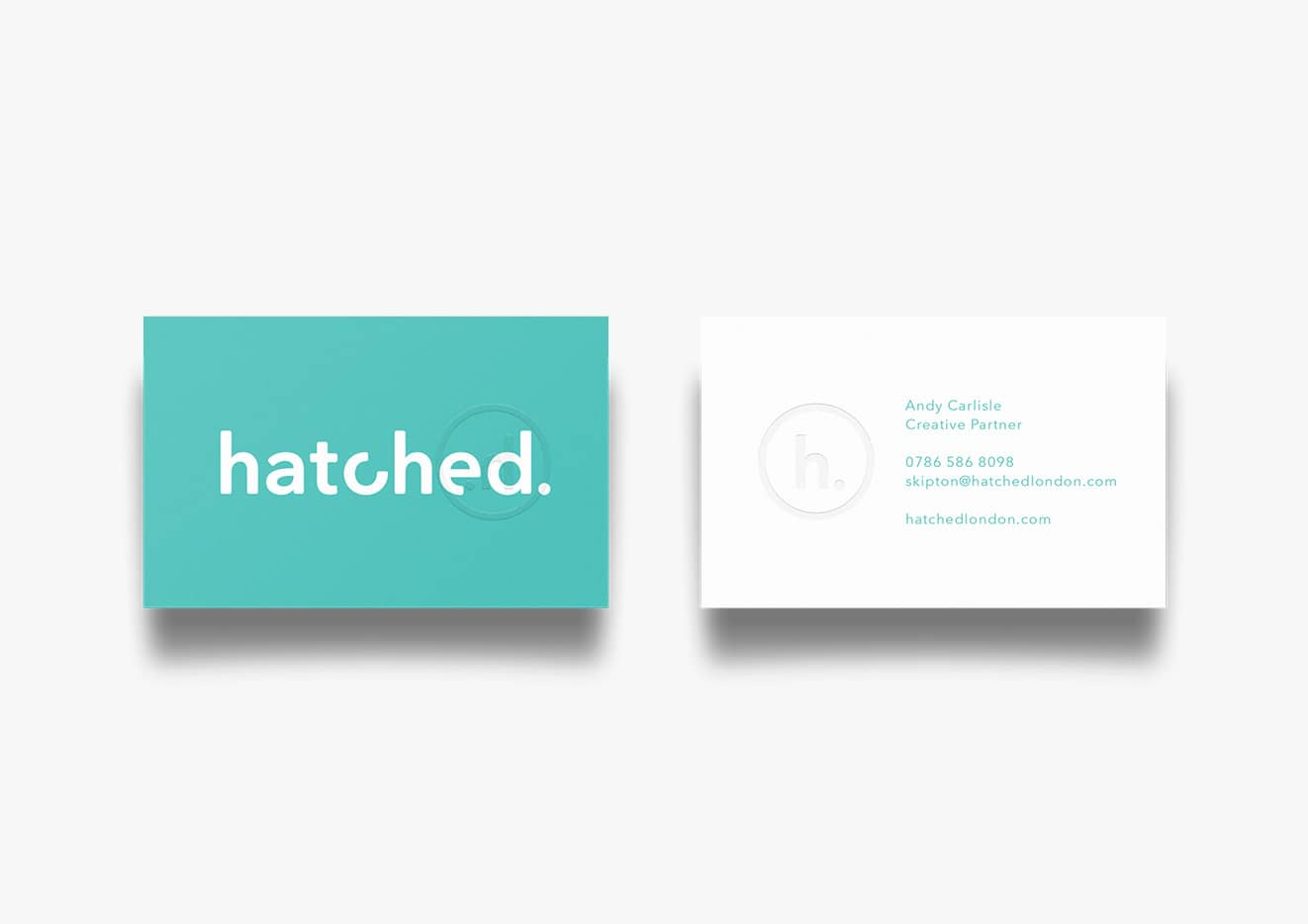 Hatched rebrand business cards