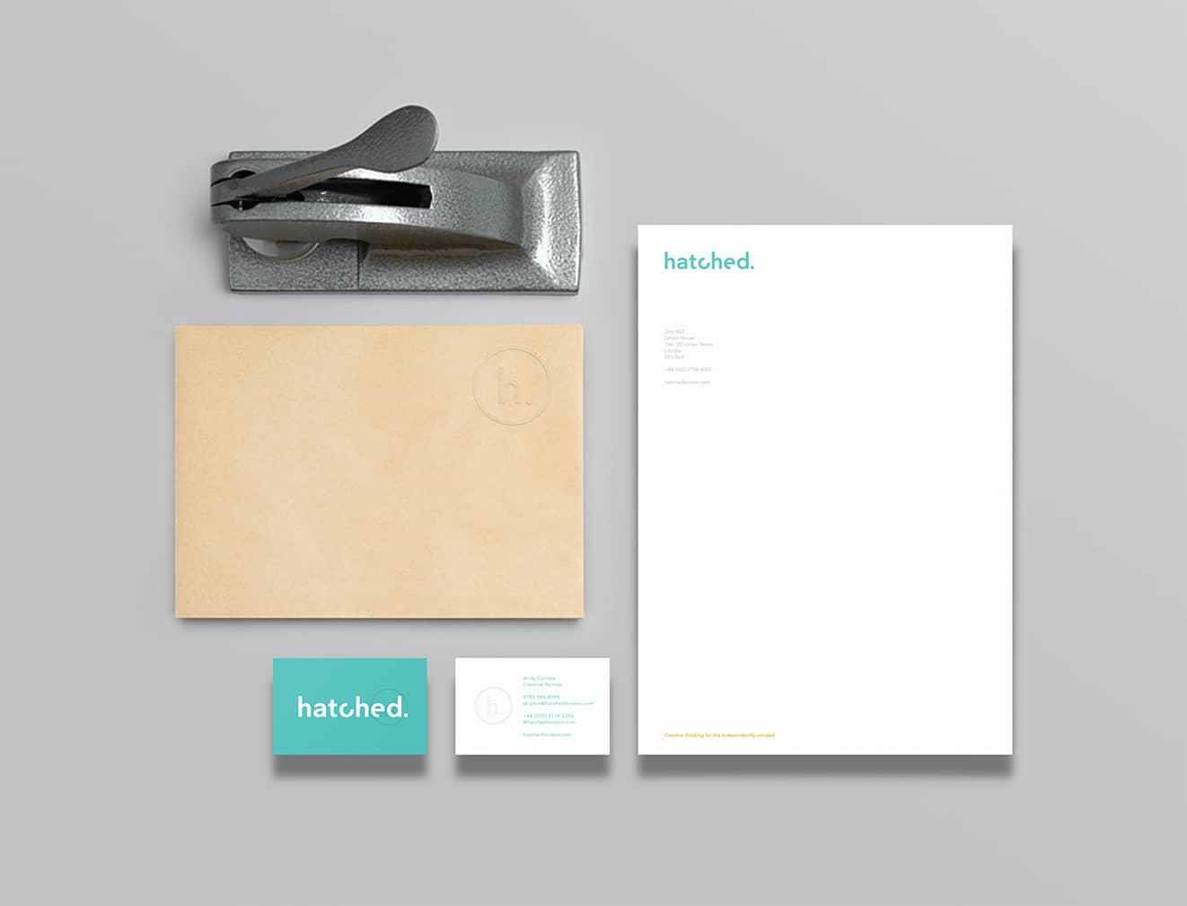 Hatched rebrand stationery