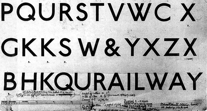 London Underground Early Sketch Johnston Font